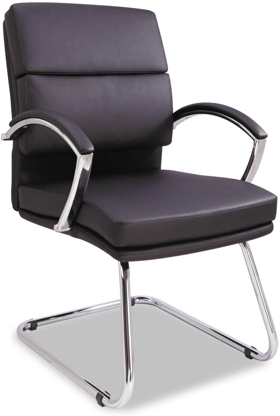 Alera NR4319 Neratoli Series Slim Profile Guest Chair, Black Soft Leather, Chrome Frame