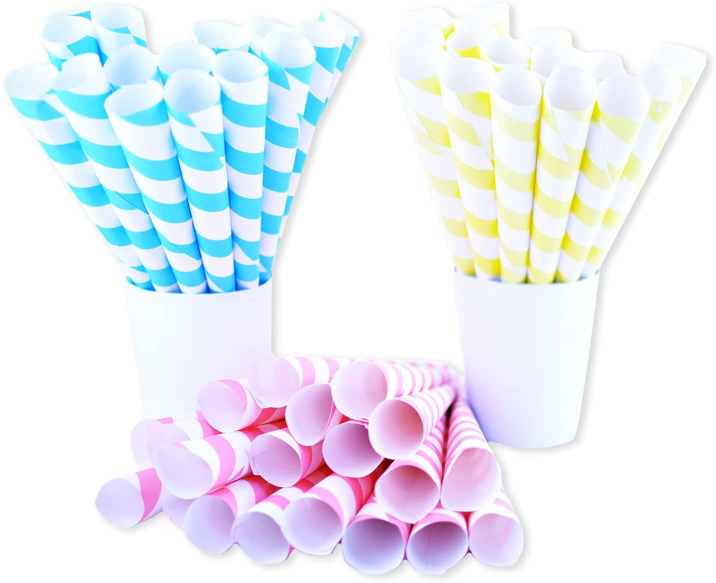 Fairy Cones Premium Multicolor Cotton Candy Cones 50 Pieces Pastel Yellow Blue and Red White Striped Cones Colorful Instructions Carnival Vintage Pastel Style Perfect for Multiple Themes and All Ages
