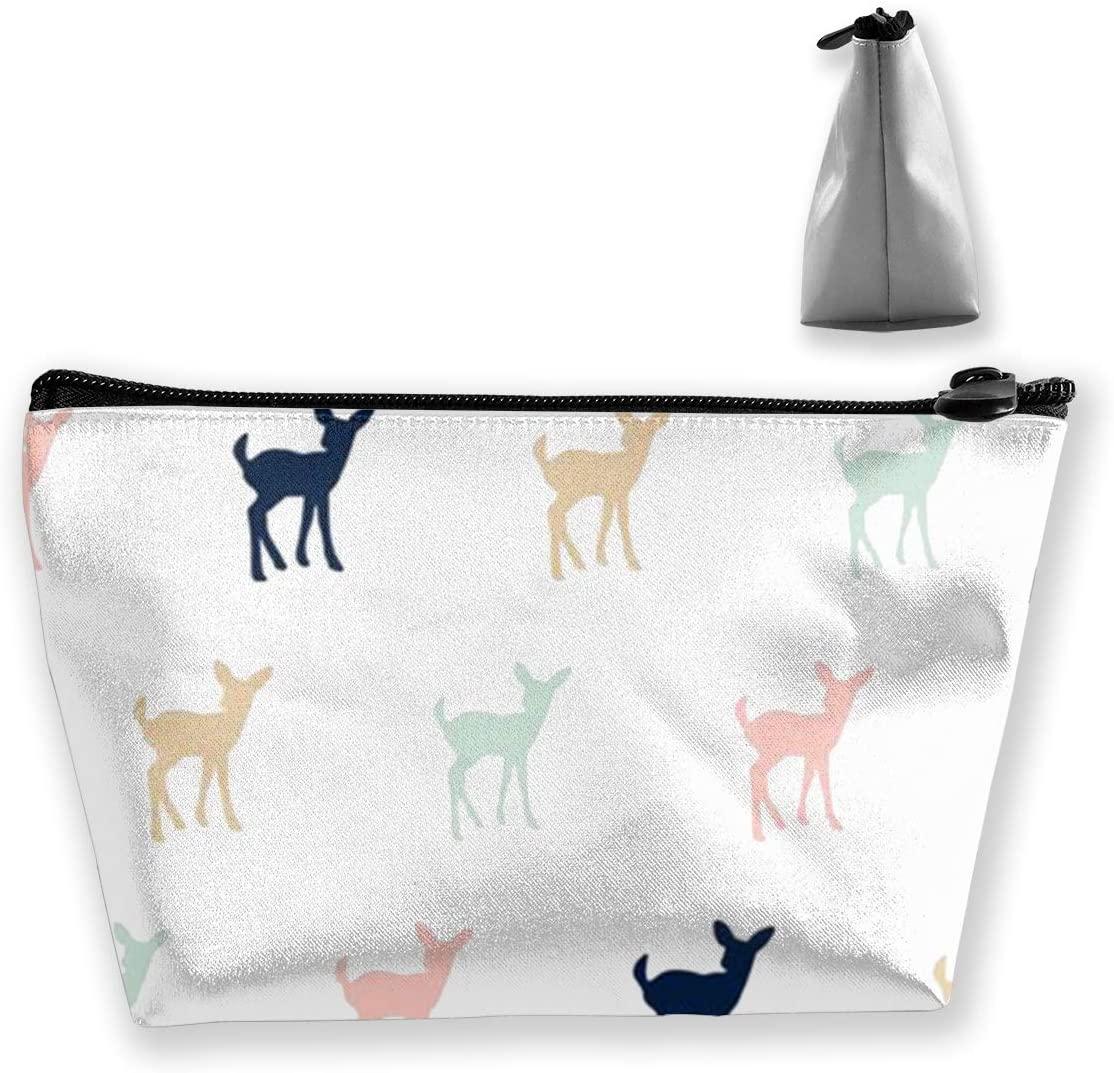 Trapezoidal Storage Bag Elk Double Print Handbag Coin Purse Cosmetic Pouch Wallet Pencil Holder