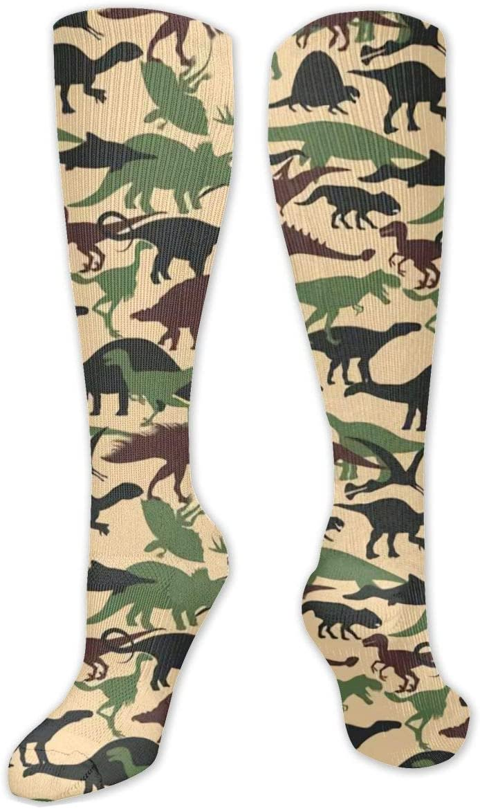 Compression Sock for Women & Men,Dinosaurs CasualLongKneeHighTubeSocksforRunnning,SoccerAthleticSports,Travel-50cm