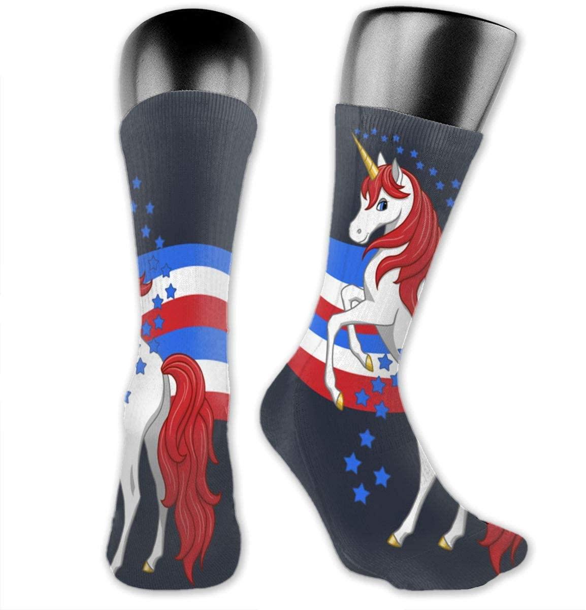 Red White Blue Unicorn Unisex Outdoor Long Socks Sport Athletic Crew Socks Stockings