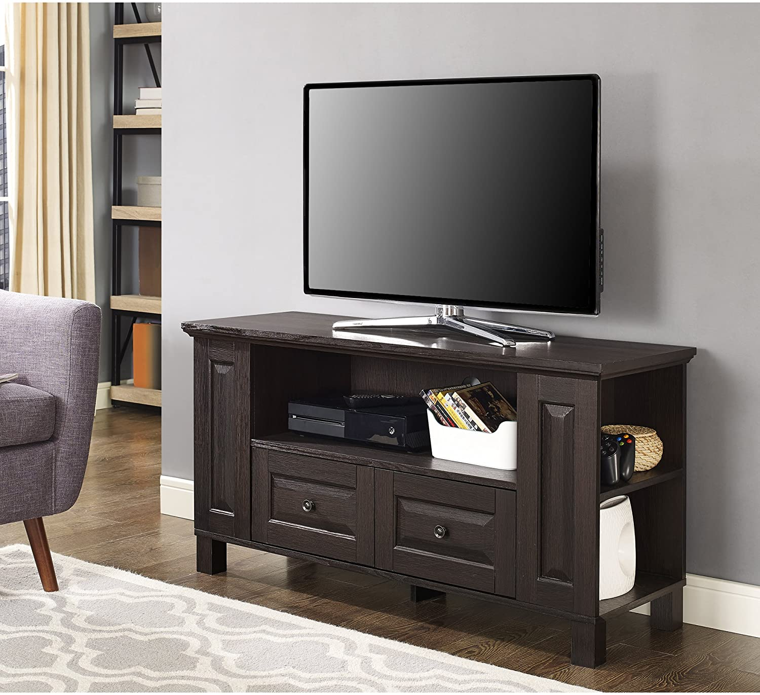 Walker Edison Furniture Company Traditional Wood Universal Stand with Storage Drawers for TV's up to 50