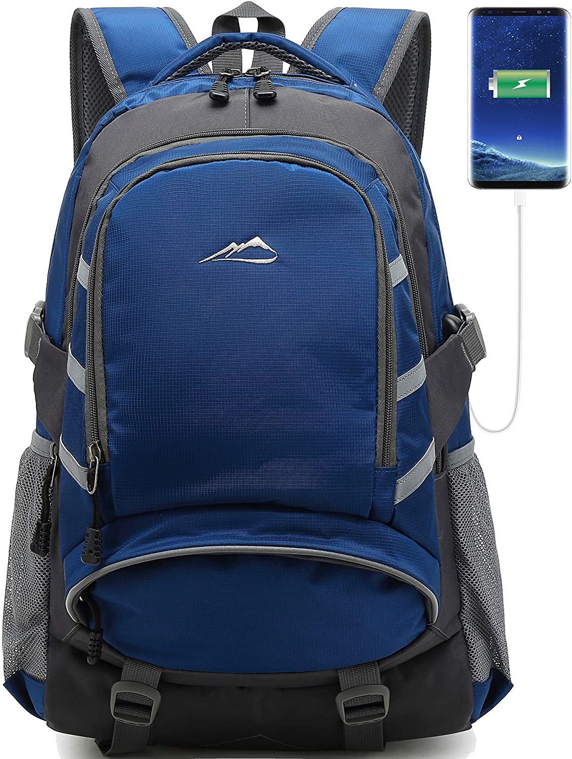 School Backpack with USB Charging Port Travel College Student Business Bookbag