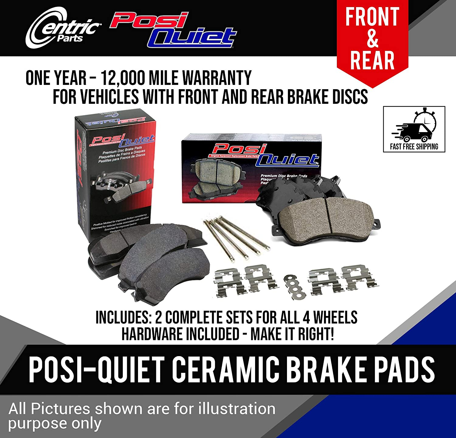 Centric FRONT and REAR Posi Quiet Ceramic Brake Pads Fits Subaru Forester, Legacy, WRX