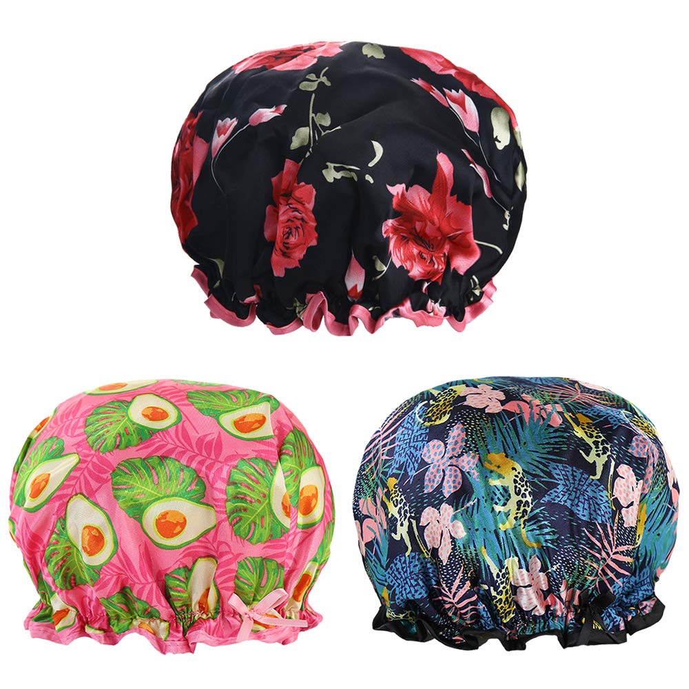 3PACK Shower Cap for Women, Reusable Bath Hair Cap with Waterproof Double Layers Design, Stylish Printed Shower Hat with Elastic Band, Suitable for Different Hair Lengths and Head Circumference