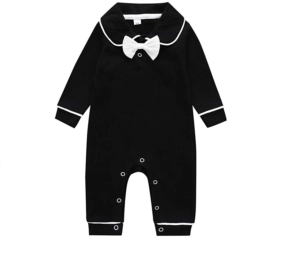 HAPPYMA Toddler Baby Boys Girls Autumn Outfits Long Sleeve Solid Tie Bodysuit Cotton Button Bow Jumpsuit Onesie