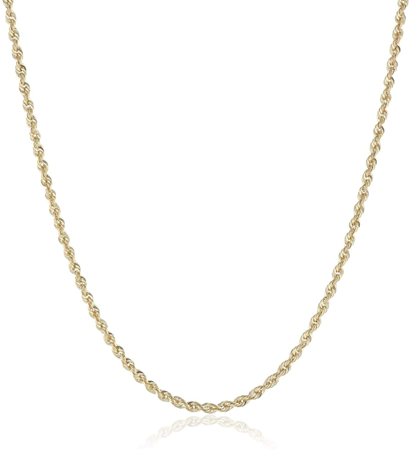 14K Solid Yellow Gold 1.5mm, 2mm, or 3.2mm Diamond Cut Rope Chain Necklace Unisex Sizes 16