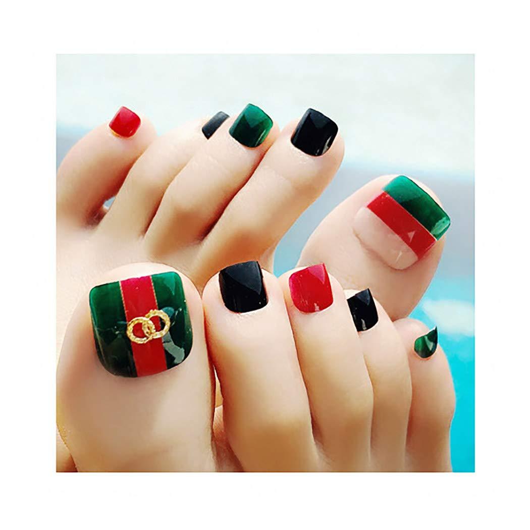 Yokawe 24Pcs False Toe Nails Glossy Art Design Acrylic Full Cover Square Short Fake Toenails Green Summer Beach Party Clip on Foot Nail for Women and Girls