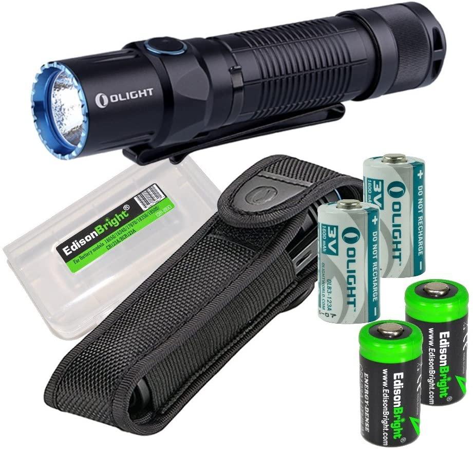 OLIGHT M2T Warrior 1200 Lumen CREE LED Flashlight EDC with 2 X EdisonBright CR123A Batteries Bundle