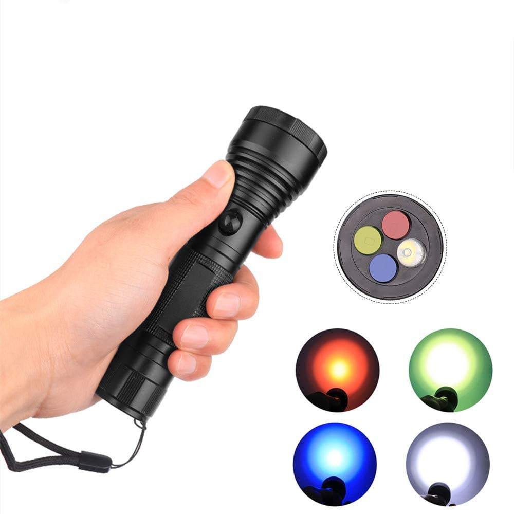 redcolourful Flashlight 4 Colors LED Flashlight Portable Camping Light Emergency Signal Light for Cleaning Supplies