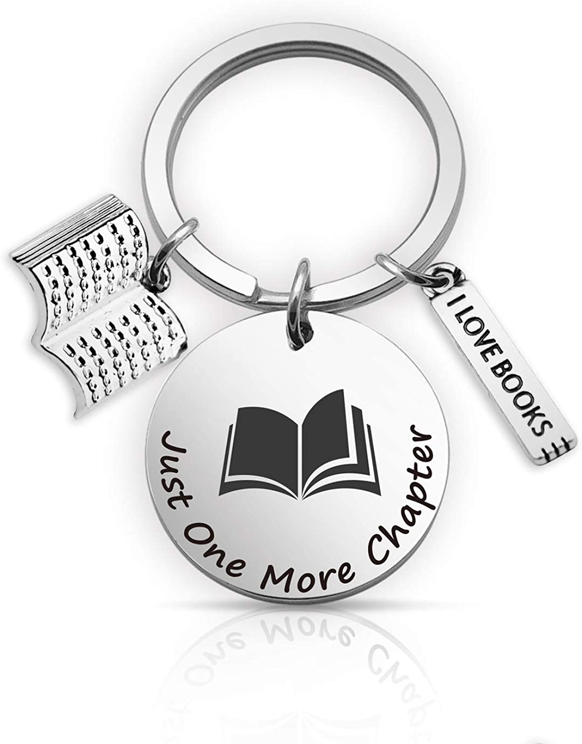 EIGSO Book Lover Gift Just One More Chapter Book Lover Keychain Bookwarm Gift Writer Keychain Gift for Writers Librarian Gift Bibliophile Gift(Chapter KR)