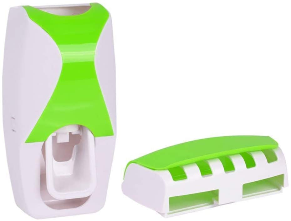 ZDYSGLV Wall-Mounted 5 Toothbrush Holder Extrusion kit, Automatic Toothpaste Dispenser, Green,Green,A