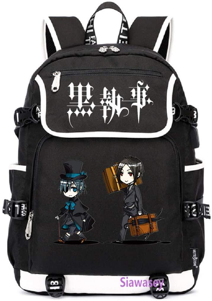 Siawasey Anime Black Butler Cosplay Backpack Daypack Bookbag Laptop School Bag with USB Charging Port