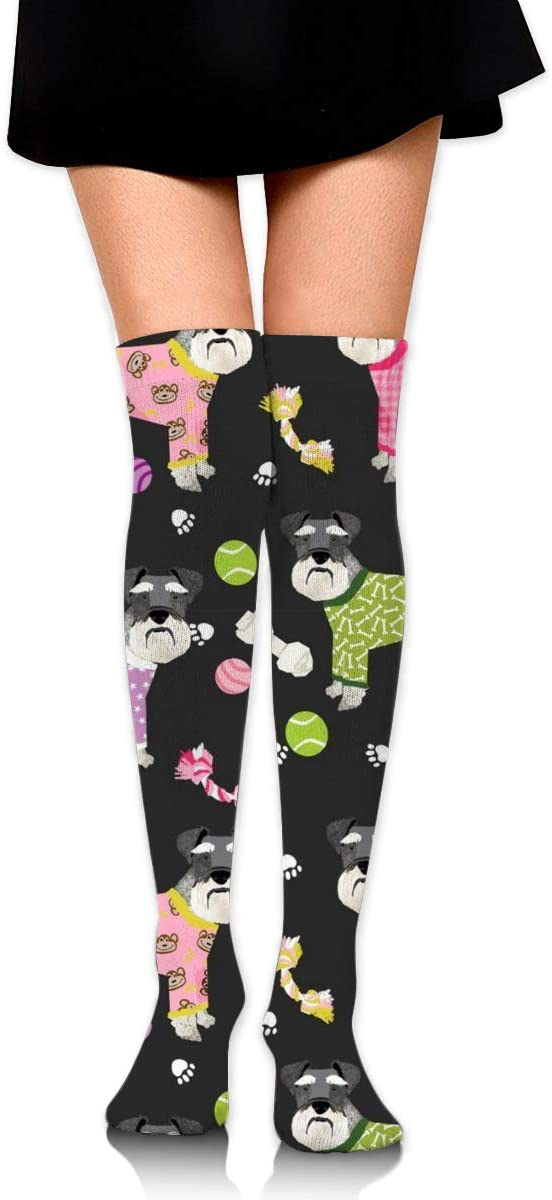 ~ Schnauzers in Jammies Compression Socks Long Stockings for Women Girls - Thigh High Stockings for Medical, Nurses, Pregnancy, Travel, Running, Flight