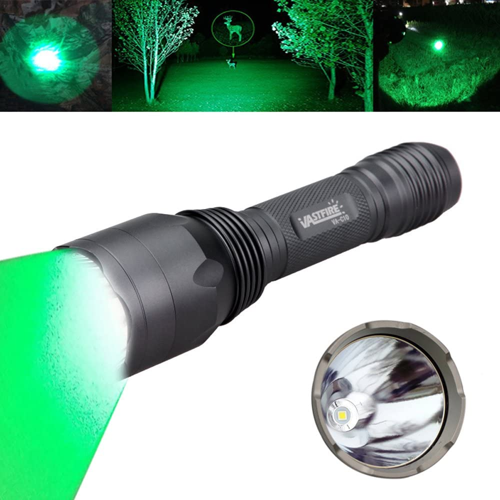 VASTFIRE Hunting Light 1000 Lumen Bright CREE Green LED Flashlight for Bow Hog Rabbit Coyote Pig Varmint Predator Night Hunting (Gray)
