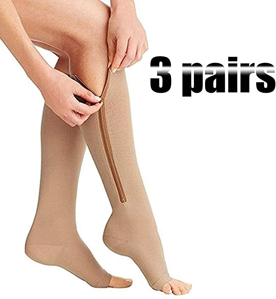 WYYZSS (2 Pairs) Compression Zip Socks15-20Mmhg Zipper Leg Support Unisex Open Toe Knee Sports Compression Socks