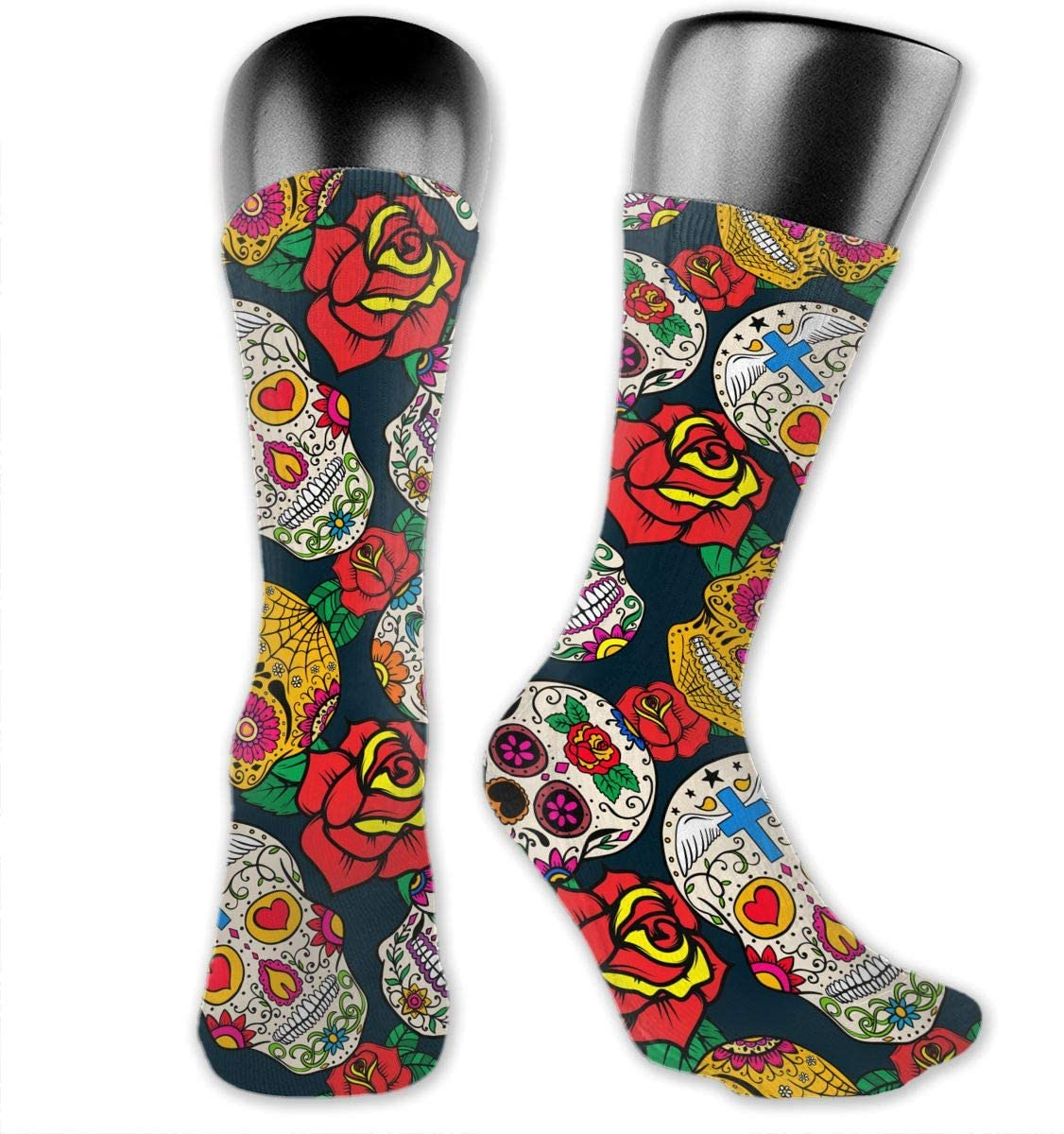 Flowers Sugar Skull Unisex Outdoor Long Socks Sport Athletic Crew Socks Stockings