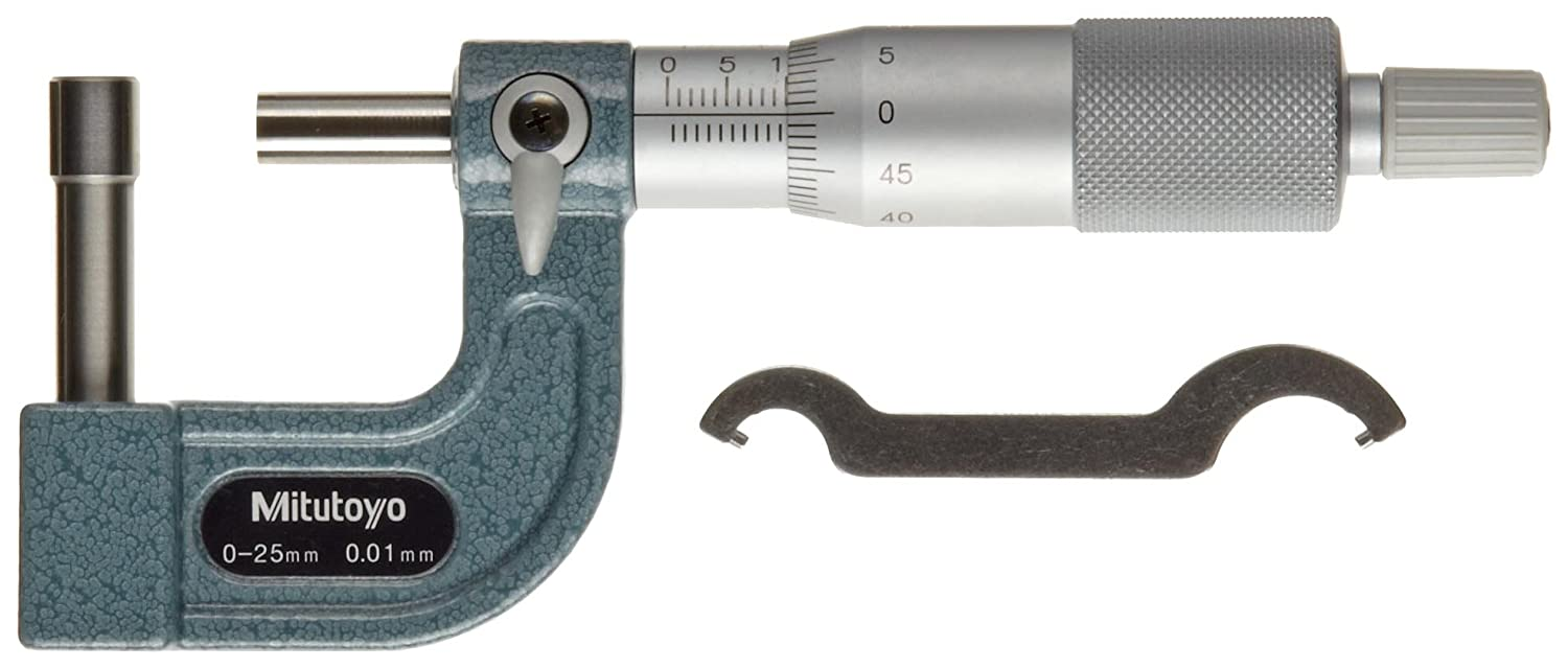 Mitutoyo 115-302 Tube Micrometer, Cylindrical Anvil, Ratchet Stop, 0-25mm Range, 0.01mm Graduation, +/-0.003mm Accuracy, 2mm Dia. Pin Tip