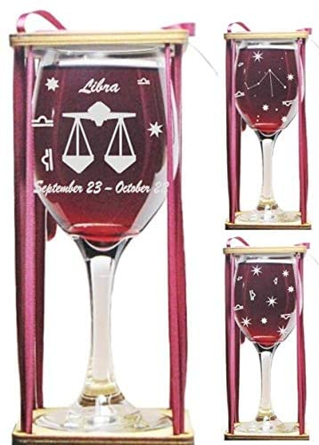 Libra Astrological Sign 360 Degree Engraved Wine Glass with Charm