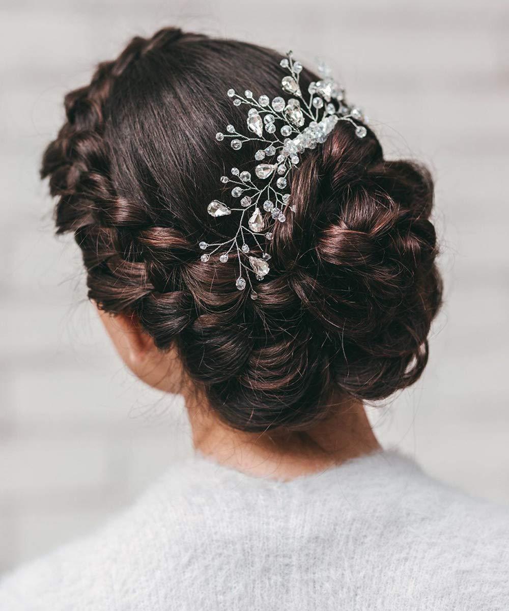 Aimimier Bridal Crystal Hair Comb Rhinestone Headband Wedding Hair Piece Wedding Hair Accessories for Women and Girls