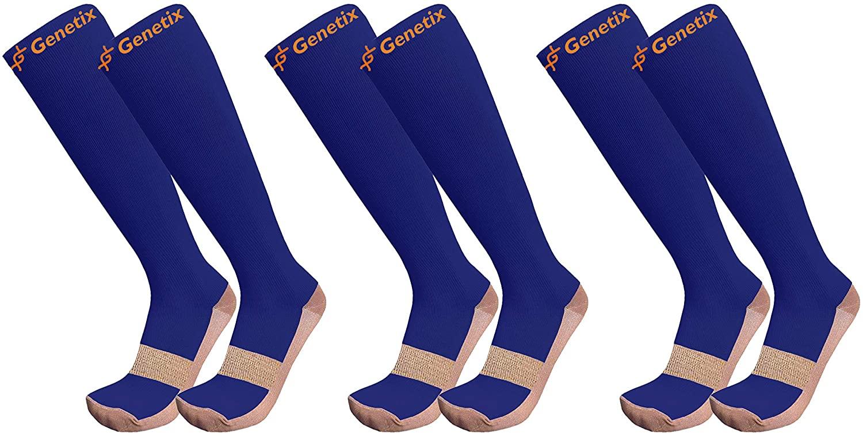 Genetix Plus Size Copper Compression Socks 15mmhg-20mmhg (Royal Blue 6XL-7XL)