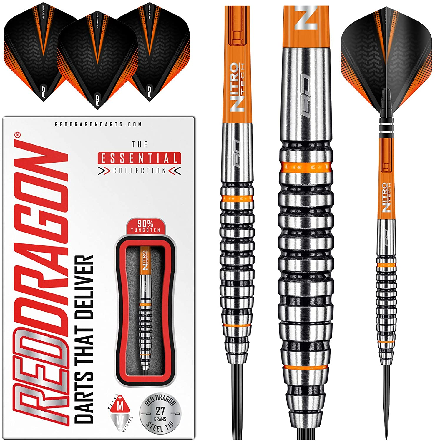 RED DRAGON Amberjack 14: 27g Tungsten Darts Set with Flights and Stems