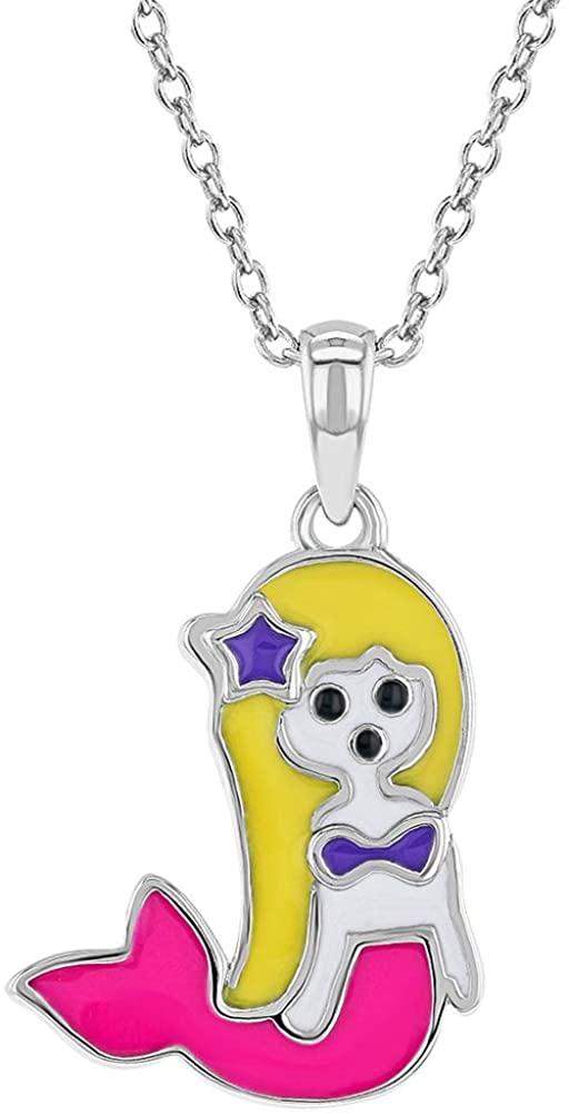 925 Sterling Silver Enamel Multicolor Mermaid Pendant Necklace Girls Kids 16