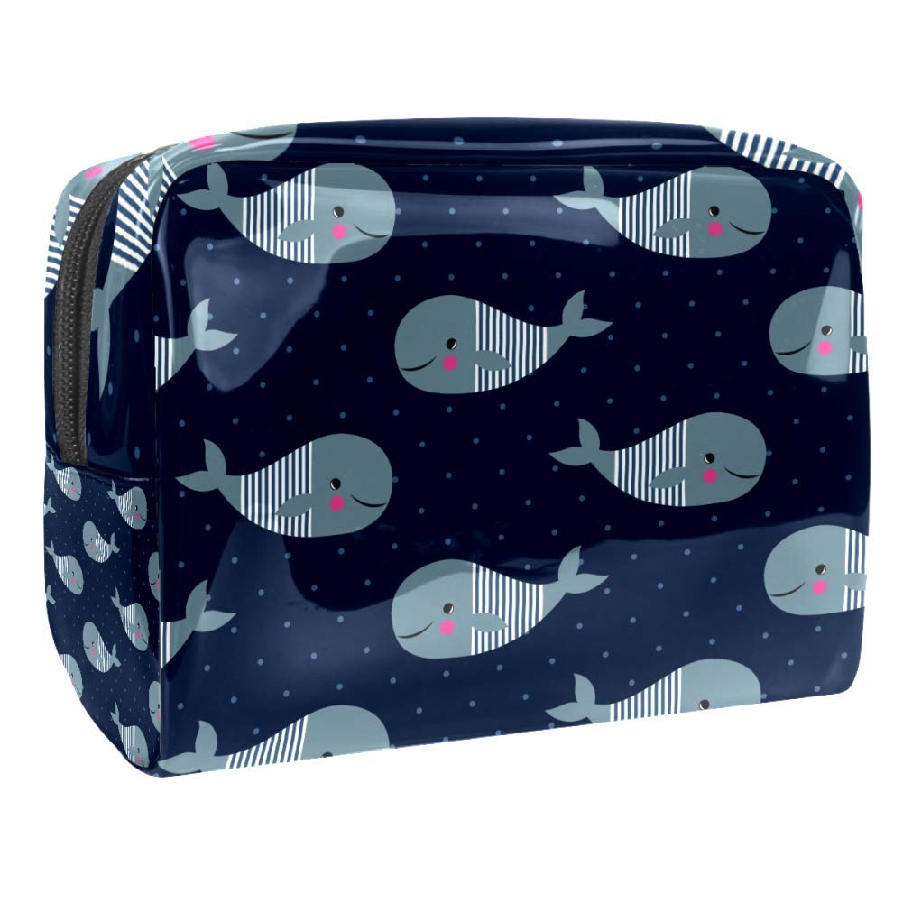 LEVEIS Whales On Dark Blue Polka Dot PVC Cosmetic Bags Makeup Handy Pouch Organizer Zipper Toiletries Bag for Women Travel Bathroom