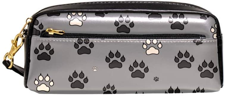 Dog Paws Print Pouch Case Women Makeup PU Leather Cosmetic Bags Kids School Portable Stationary Pencil Bag