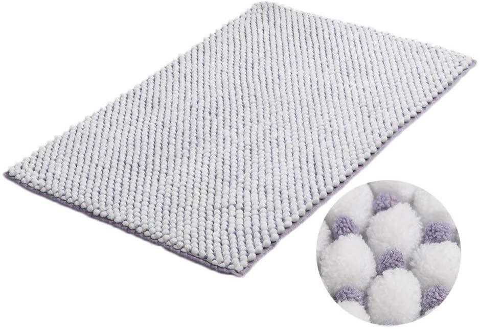 KKLTDI Plush Chenille Absorbent Bathroom Rug, Non-Slip Machine Washable Soft Thick Bath Mat Comfortable Shaggy Tub Laundry Room Bath Rug-Purple 81x53cm(32x21inch)