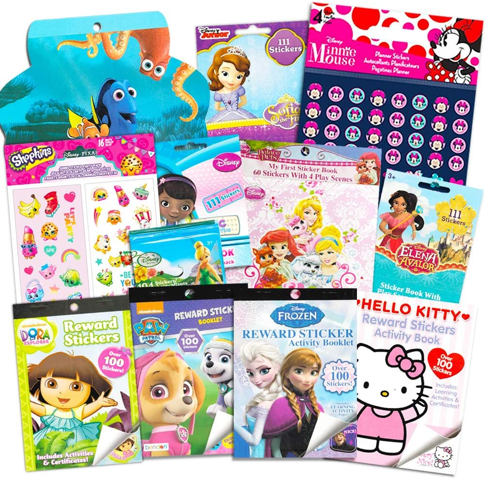 Stickers for Girls Toddlers Kids Ultimate Set ~ Bundle Includes 11 Sticker Packs with Over 1800 Stickers Featuring Disney Frozen, Minnie Mouse, Hello Kitty, and More (Girl Stickers,Party Favors)