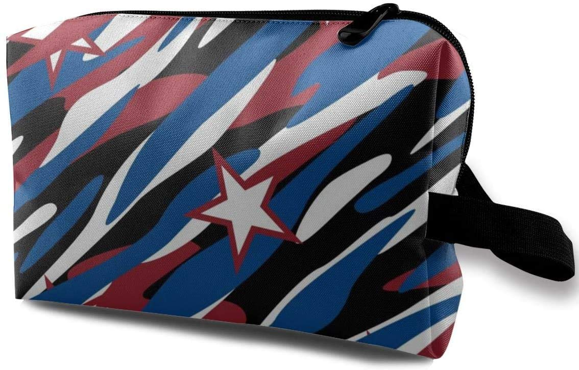 Blue Red Stripes Stars Small Travel Toiletry Bag Super Light Toiletry Organizer Portable Cosmetic bag for Overnight Trip Bag