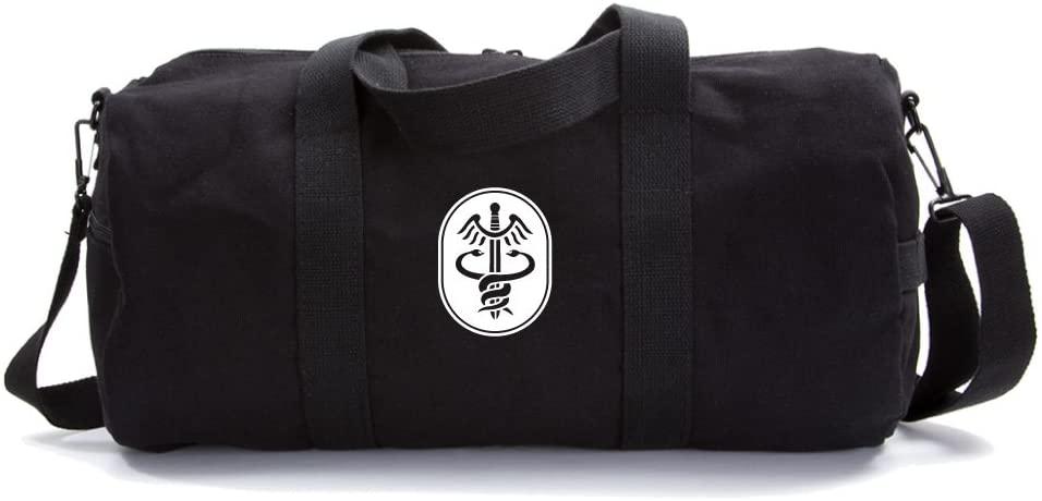 Medical Hippocratic Symbol Army Heavyweight Duffel Bag on Black & White, Large