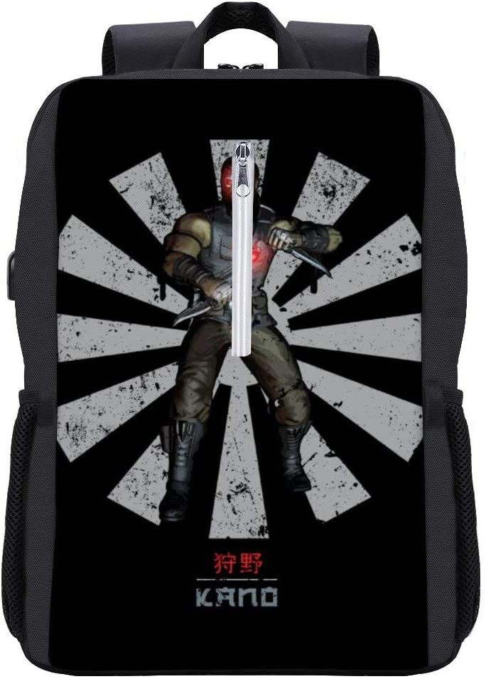 Kano Retro Japanese Mortal Kombat Backpack Daypack Bookbag Laptop School Bag with USB Charging Port