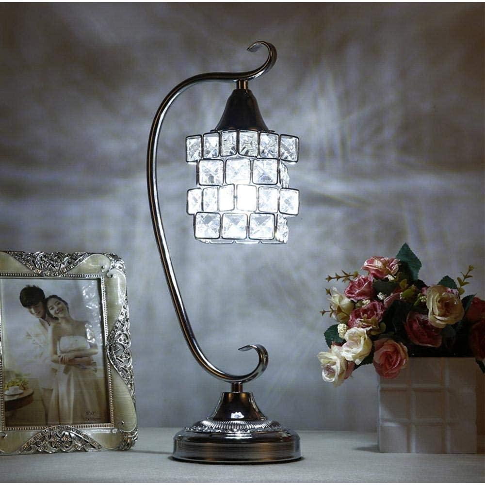 Chenteshangmao European and Fashionable Crystal LED Desk Lamp, LED Nightlight, with Full K9 Crystal Magic Cube Design Lampshade & Metallic Bracket for Bedroom, Living Room, Decoration,Elegant Nordic