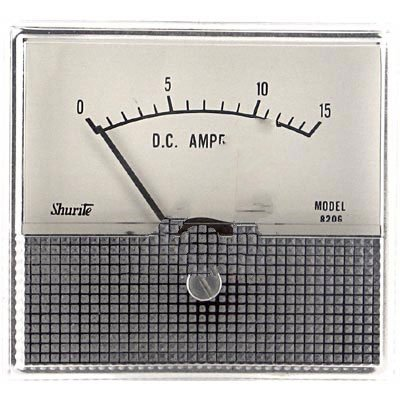 Shurite 8206Z, Ammeter; 0 to 15 A; 5%; 2.5 in; Polystyrene Cases with Metal Scales