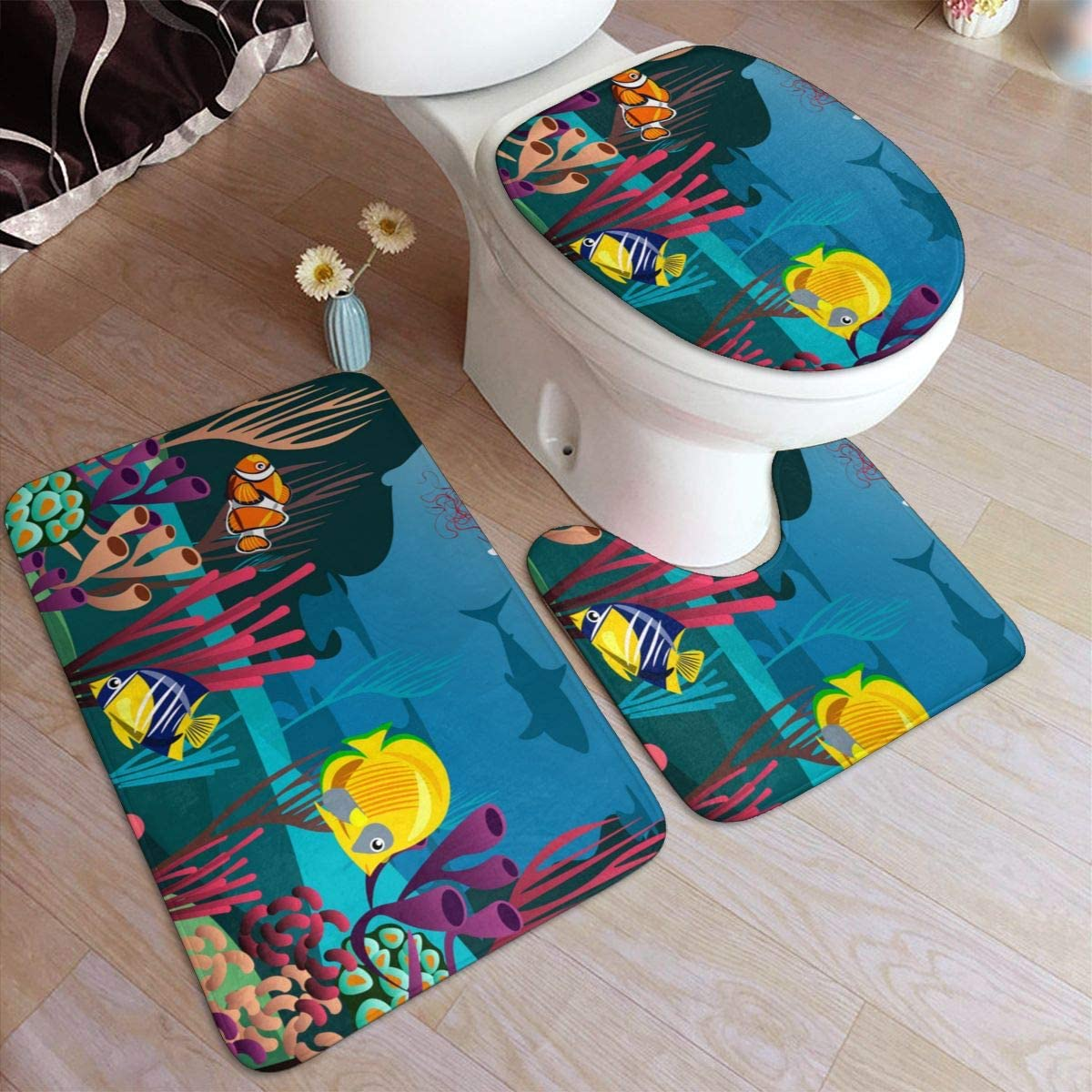 Bath Mat Sets, Undersea World with Fish,Contour Rug U-Shaped Toilet Lid Cover,Non Slip,Machine Washable,3-Piece Rug Set Easier to Dry for Bathroom