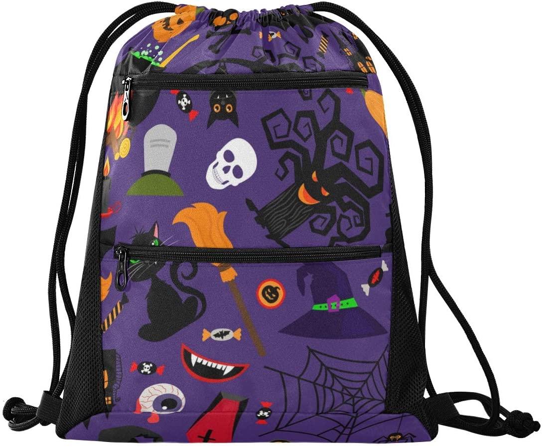 Halloween Drawstring Backpack Sport Gym Sackpack - Happy Halloween Castle Hat Pumpkins Gym Bag Sackpack Sport Backpack for Travel Swimming