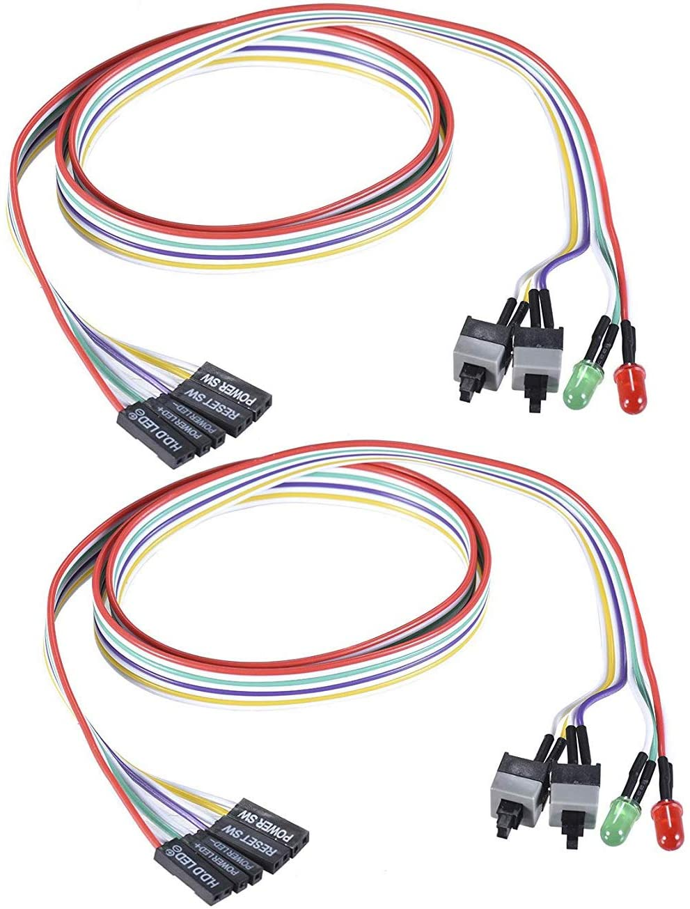 Warmstor 2-Pack Computer Case LED Light Red Green ATX Power Supply Reset HDD Switch Cable 27-inch Long ATX Case Front Bezel Wire Kit