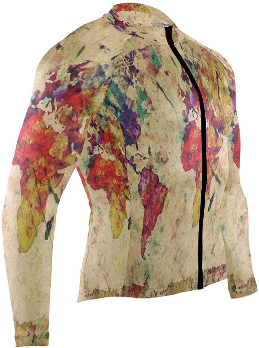 SLHFPX Watercolor Cupcake Strawberry Mens Cycling Jersey Shirts Long Sleeve Mountain Riding Clothes Outfit
