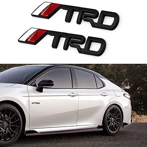 2PCS TRD Emblem Badge Sticker Decal, 3.740.7in Black Metal 3D TRD Emblem for Toyota Fj Cruiser Supercharger Tundra Tacoma Yaris Camry 4Runner Sequoia