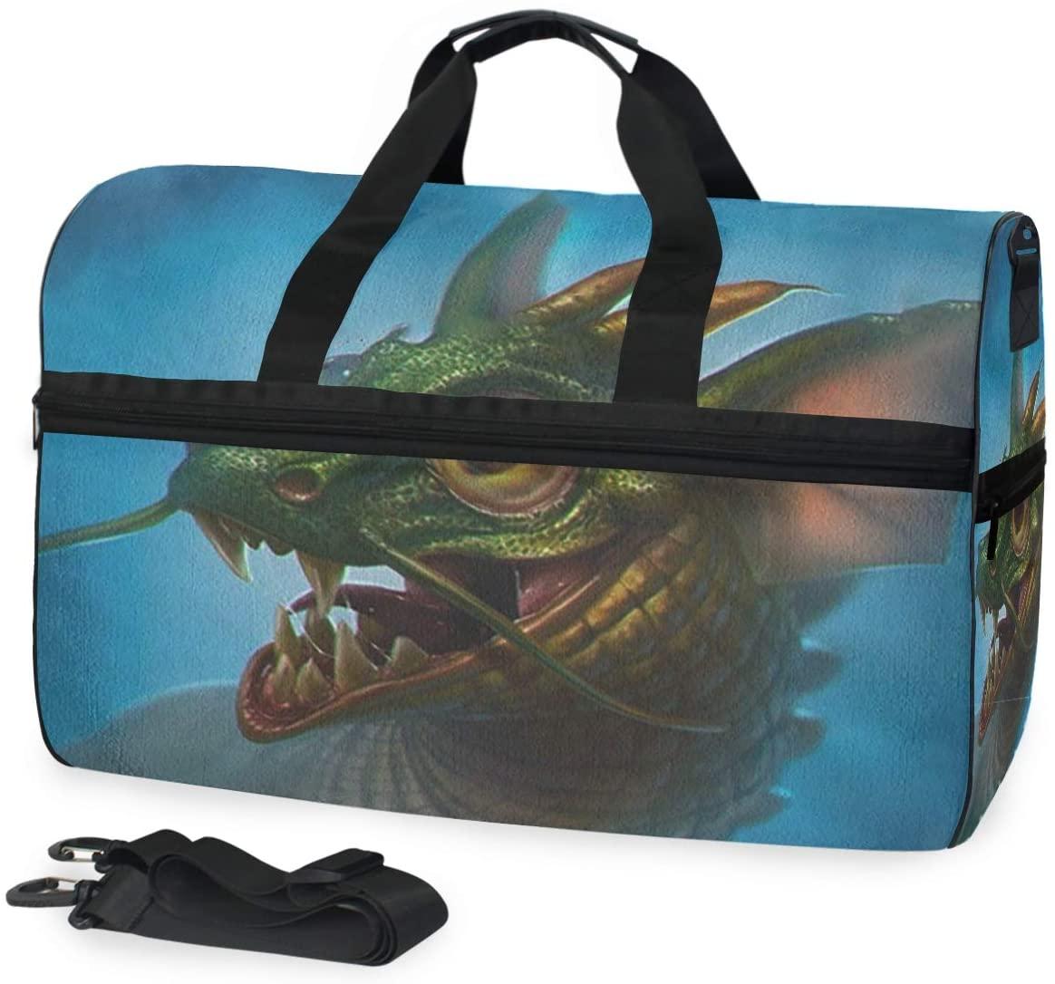 SLHFPX Gym Bag Green Dragon Duffle Bag Large Sport Travel Bags for Men Women