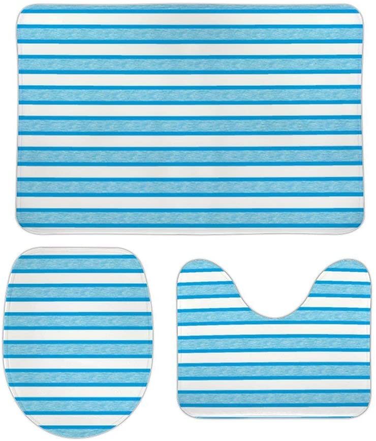 Outlined Stripes Turquoise 3 Piece Bathroom Rug Set Bath Mat, U Shaped Contour Mat, Lid Cover Non-Slip with Rubber Backing, Perfect Carpet Mats for Tub, Shower, Home Decor 20