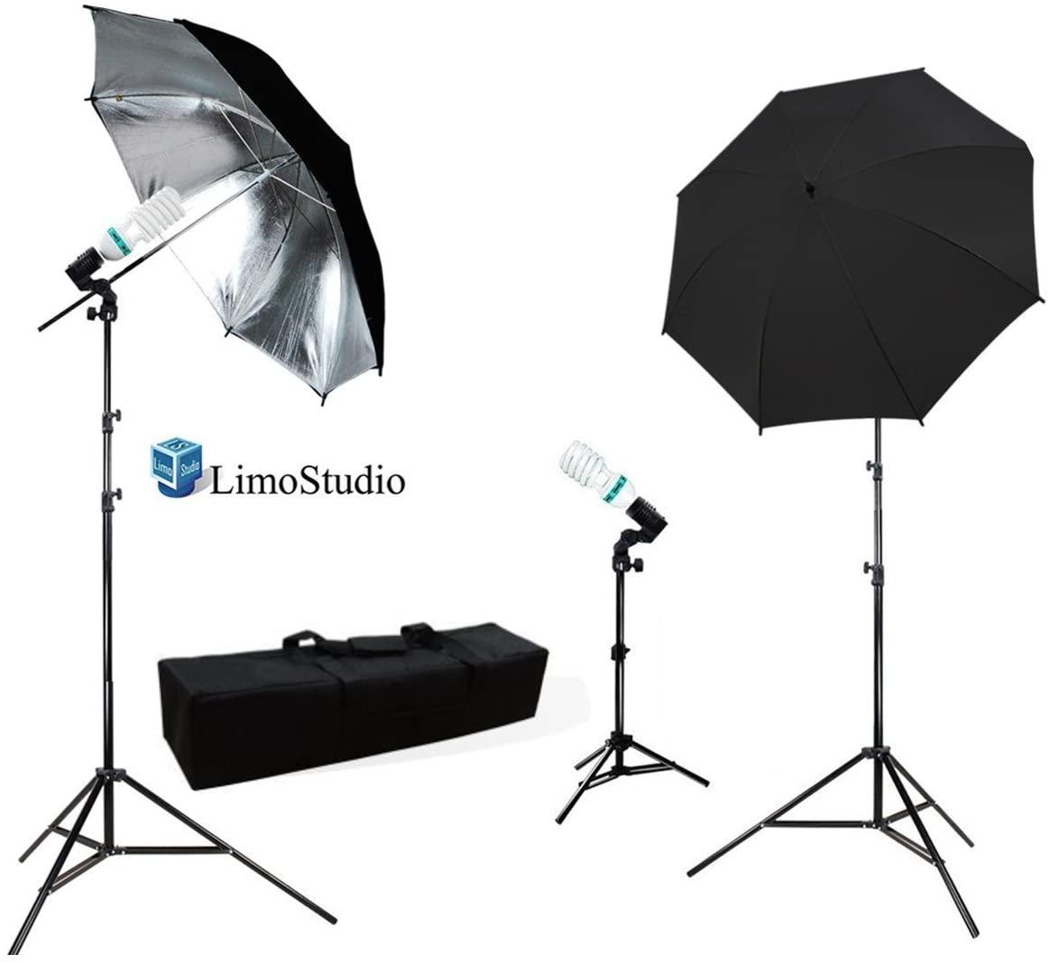 LimoStudio Photography Photo Portrait Studio 600W Triple Continuous Umbrella Lighting Kit - 2x Black / Silver Umbrella Lighting, 1x Table Top Mini Lighting Kit, AGG1211