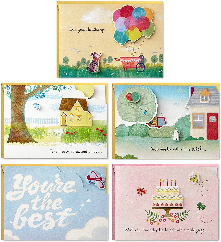 Hallmark Paper Wonder Pop Up Birthday Cards Assortment (5 Cards with Envelopes)
