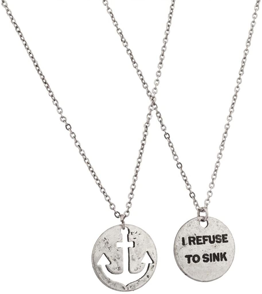 Lux Accessories I Refuse to Sink Anchor Cutout BFF Best Friends Forever Necklace Set (2pc)