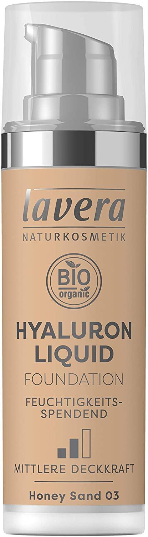 lavera HYALURON Liquid Foundation -Honey Sand 03- Primer ∙ Creates a perfect healthy radiance ∙ Vegan Natural cosmetics Make-up Organic plant ingredients 100% natural make-up (30 ml)