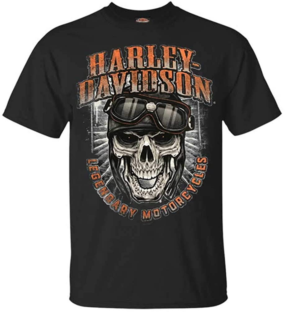 Harley-Davidson Men's Skull & Goggles Crew Short Sleeve Tee - Solid Black