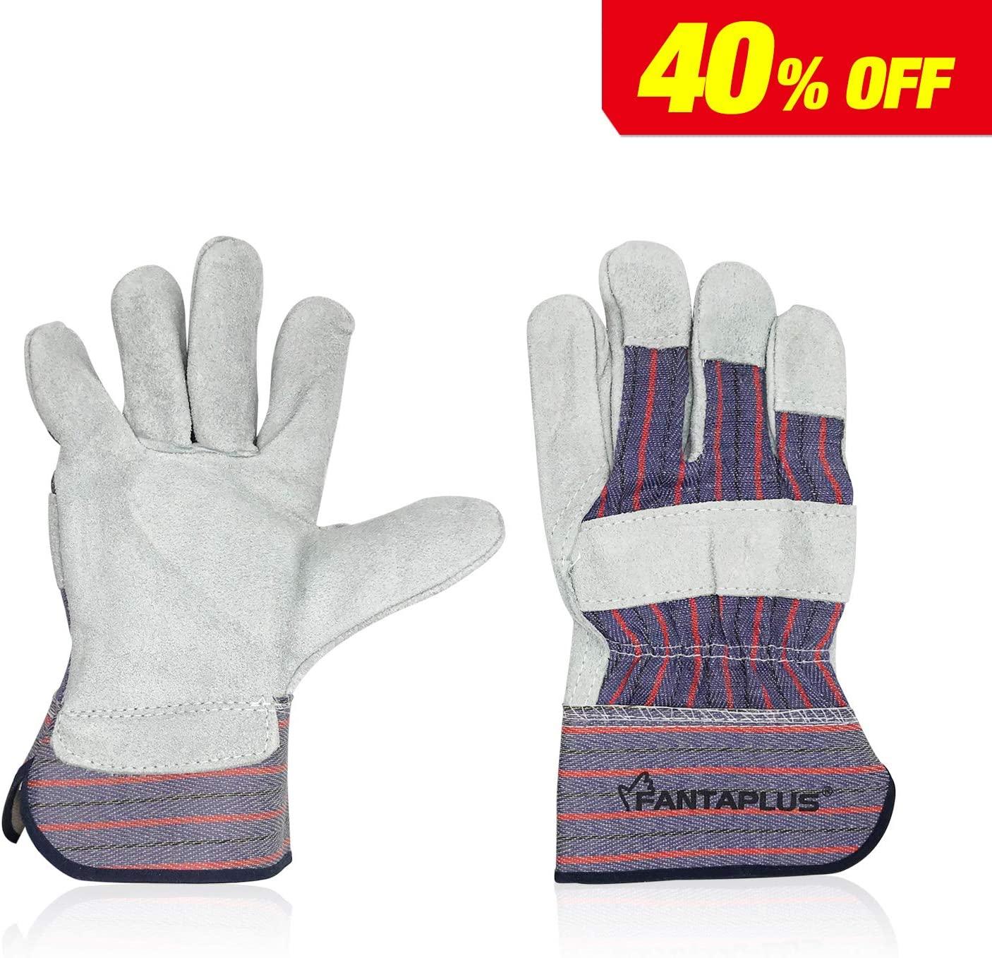 FANTAPLUS 10.5Welding Gloves Heat Resistant Wear Resistant (White and Blue)