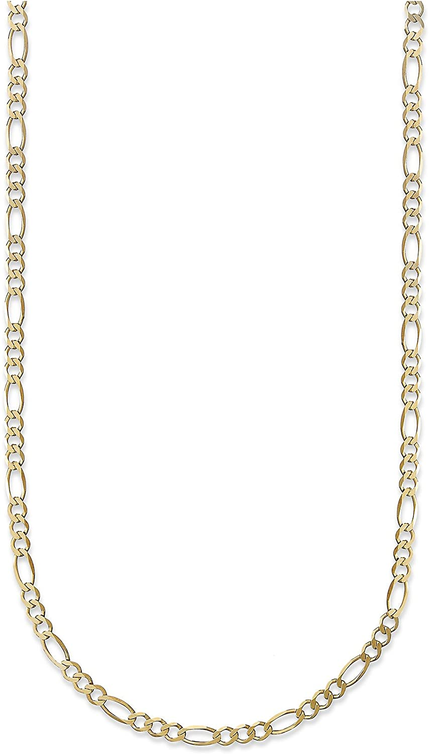 18 Karat Solid Yellow Gold 2mm Figaro Link Chain Necklace - 3+1 Link - Made In Italy